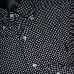 Ralph Lauren Plaid Button Front Shirt Black maroon
